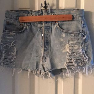 Levi's 501 distressed denim cut offs
